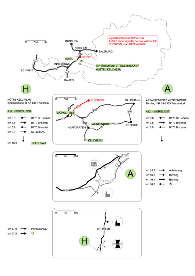 Anfahrt zu den Wellness - Appartments nach Westendorf und der Ferienhütte in Kelchsau, Brixental